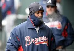 Atlanta's Justin Upton tries to stay warm during last season's game in Colorado in which temperatures dipped to 23 degrees.