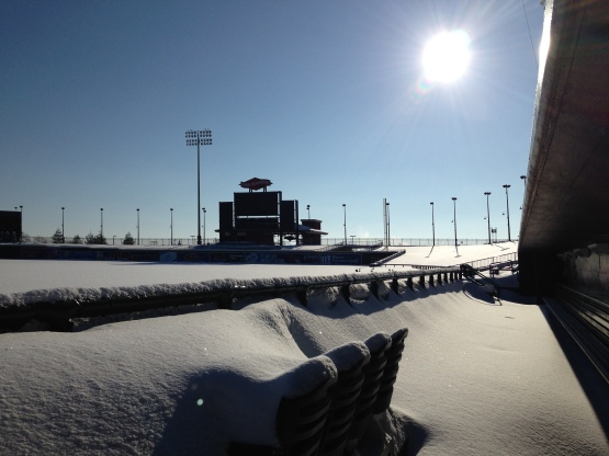 A view from the first base dugout at Dow Diamond the morning after a recent snowstorm.
