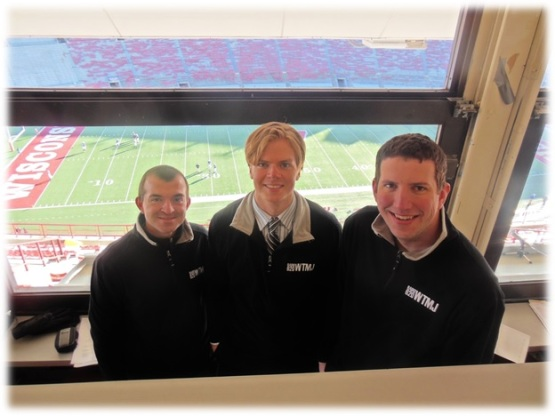 "Vosters, pictured center, during his time with 620 WTMJ in Milwaukee alongisde his ""Preps Live"" colleagues Matt Menzl and Matt Salmon. (Photo from JacobsMediaBlog.com)"